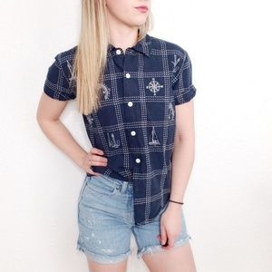 90s Vintage Nautical Sailor Button Up Shirt Top